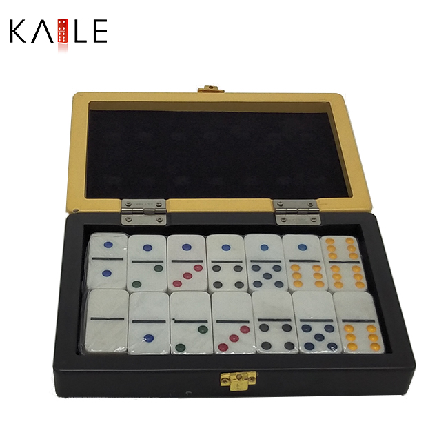 Double  six  colorful  domino  in  wooden  box