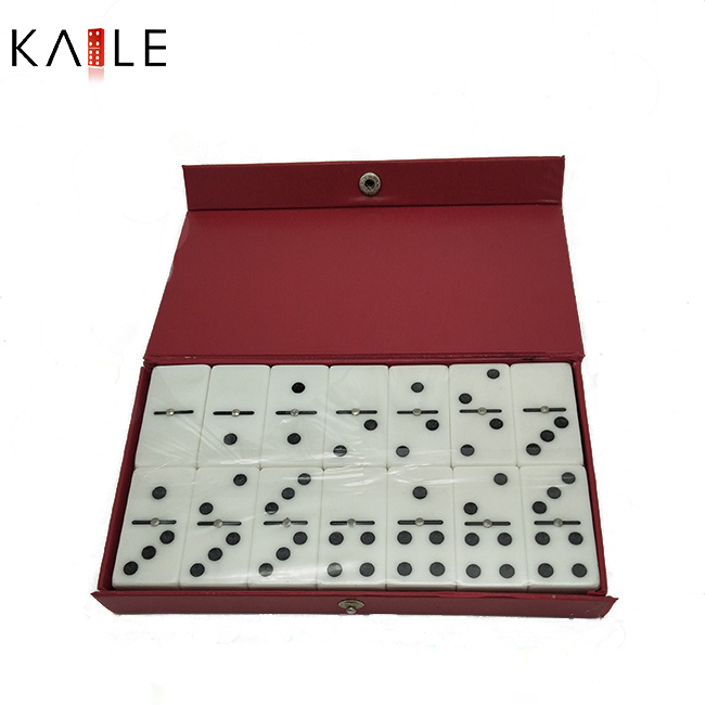 Double six domino set with leather box