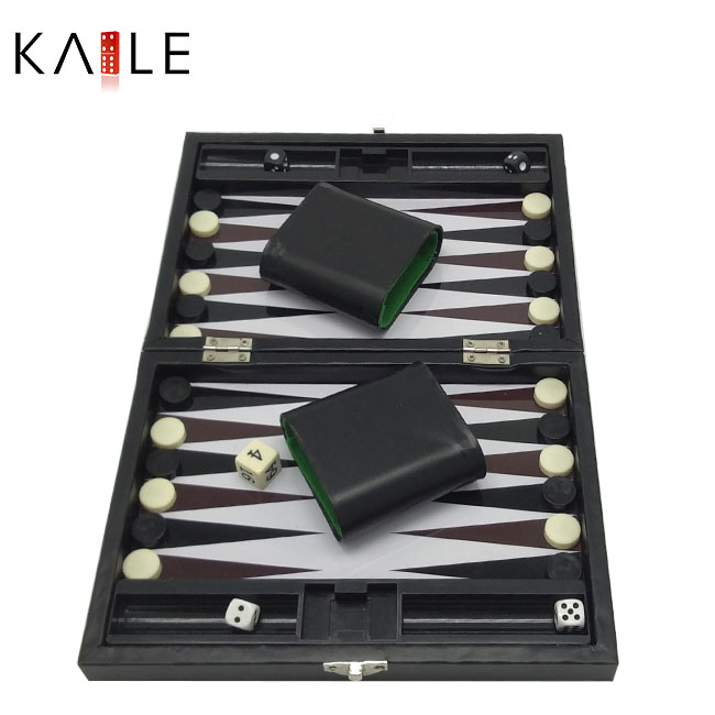 9 inch backgammon with black leather box
