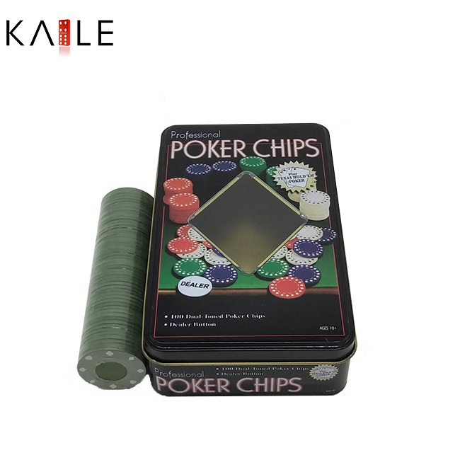poker chips with tin box