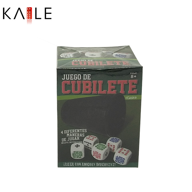 Poker dice with carton box