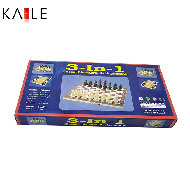 Middle 3 in 1 chess game set  with wooden box