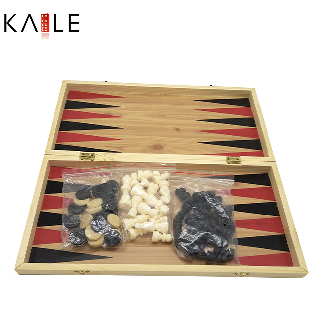Big 3 in 1 chess game set with wooden box