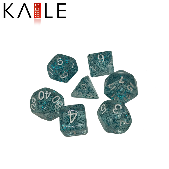 Glittering and transparenth blue Polyhedral Dice