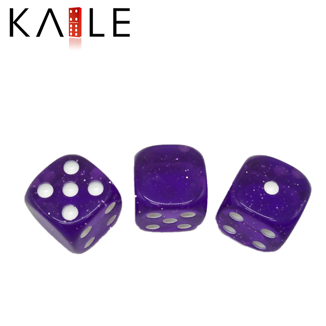 Purple with white dots dice