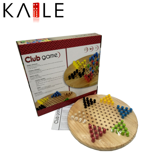 Round Wood Chinese With 6 colors Checkers Board Games