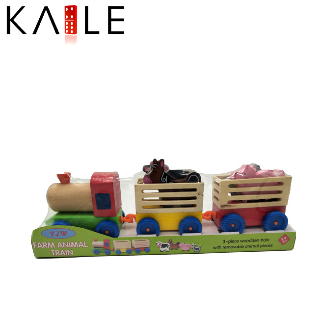 Intelligence Wooden Children Educational Toys Farm Animals Train Set