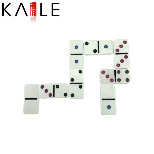 Double six colorful domino in bag
